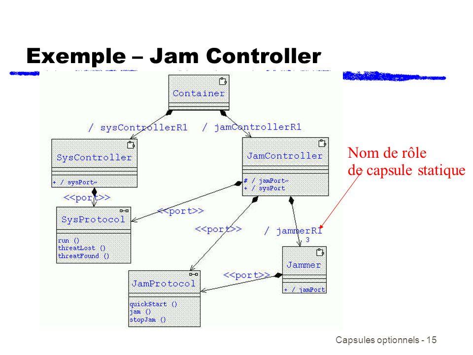 Capsules optionnels - 15 Exemple – Jam Controller Nom de rôle de capsule statique