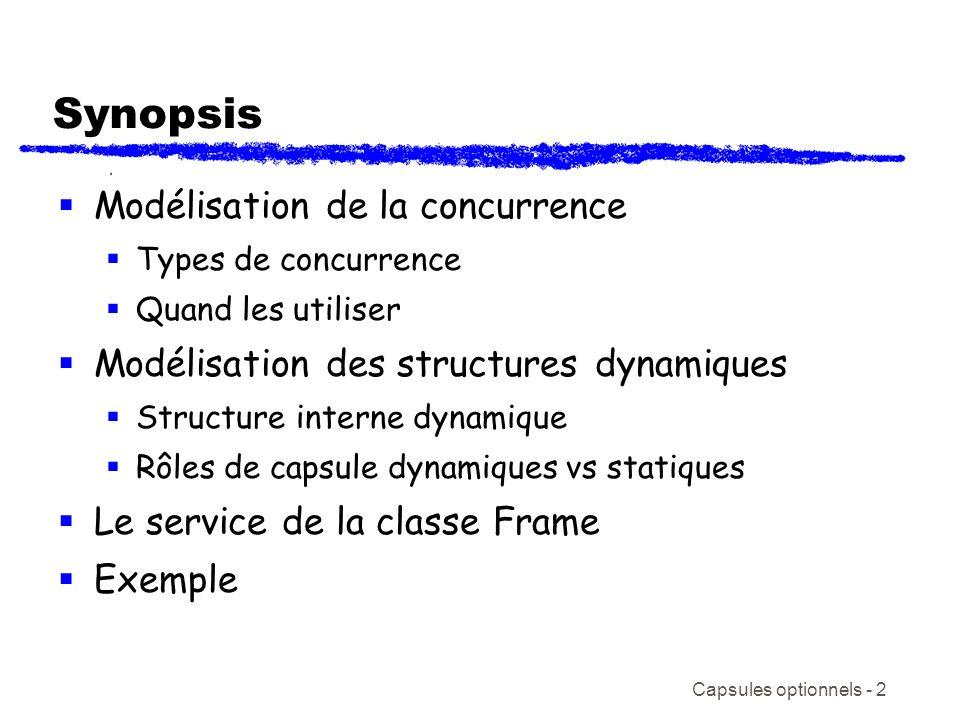 Capsules optionnels - 2 Synopsis Modélisation de la concurrence Types de concurrence Quand les utiliser Modélisation des structures dynamiques Structu