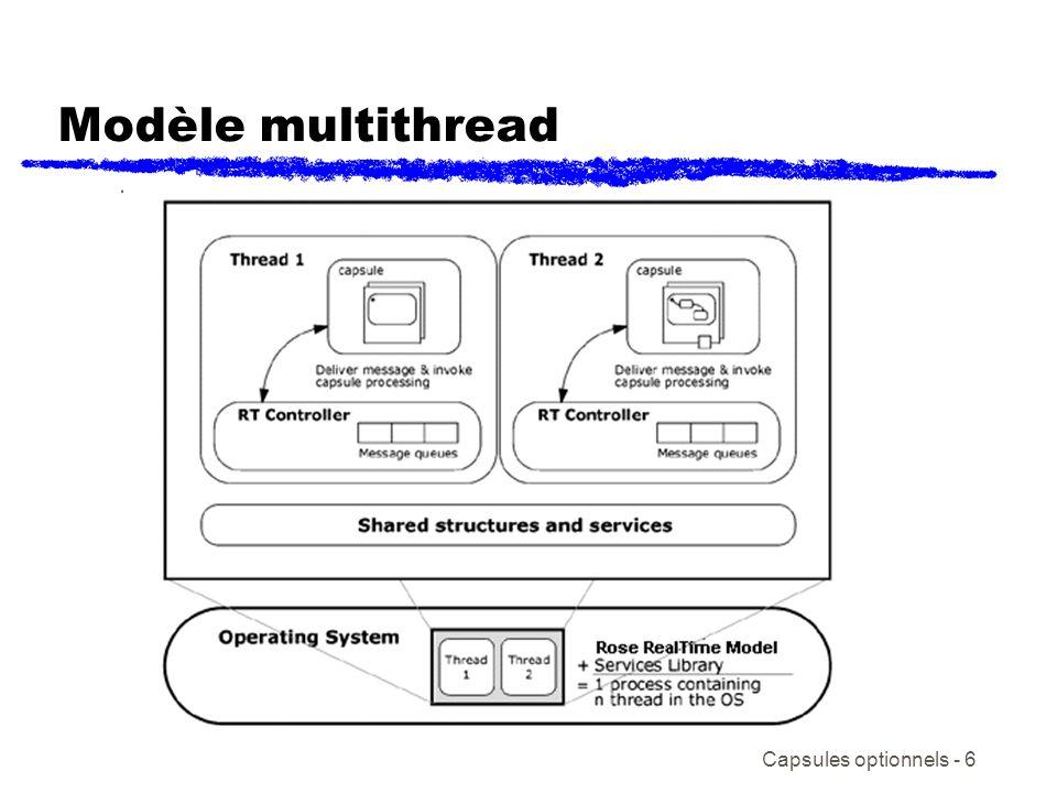 Capsules optionnels - 17 Exercice de capsules optionnelles /Threads ( voir le modèle ThreadsExercise) Téléchargez et dézippez le modèle contenu dans ThreadsExercise.zip Chargé et exécutez le modèle et observez son comportement Étudiez le code contenu dans le model Répondez aux 4 questions