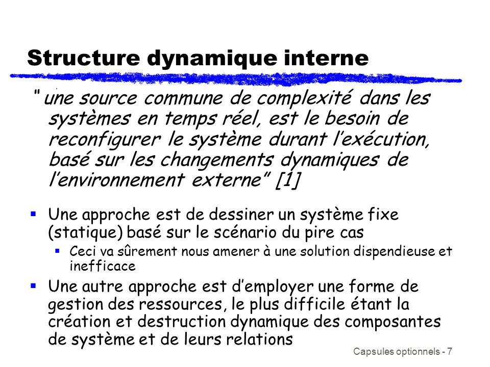 Capsules optionnels - 7 Structure dynamique interne une source commune de complexité dans les systèmes en temps réel, est le besoin de reconfigurer le