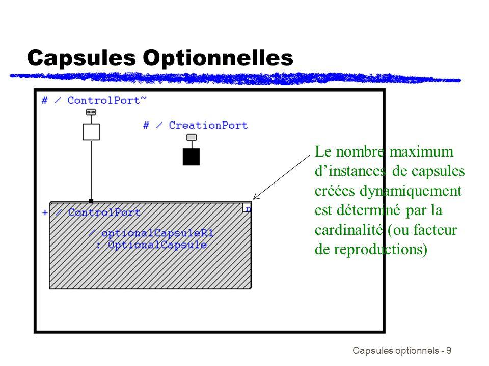 Capsules optionnels - 10 Services de la classe Frame de RoseRT Fournit les mécanismes pour créer et détruire les capsules optionnelles Fournit les mécanismes pour créer les threads Classes dimplémentation: Frame:: {type de classe pour un port de service Frame} incarnate( ), incarnationAt( ), destroy( ), classIsKindOf( ), classOf( ), className( ) RTActorID:: {poigné pour linstance dune capsule} isValid( ) RTActorRef:: {contient linfo commune pour chaque rôle} size( )