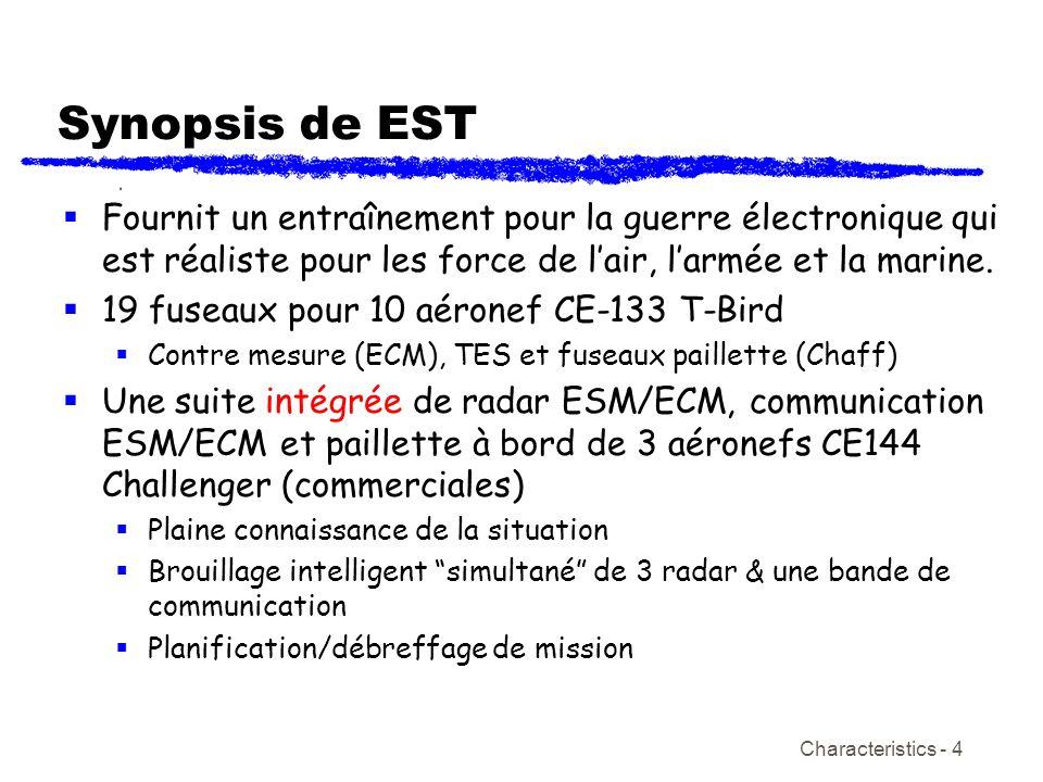 Characteristics - 4 Synopsis de EST Fournit un entraînement pour la guerre électronique qui est réaliste pour les force de lair, larmée et la marine.