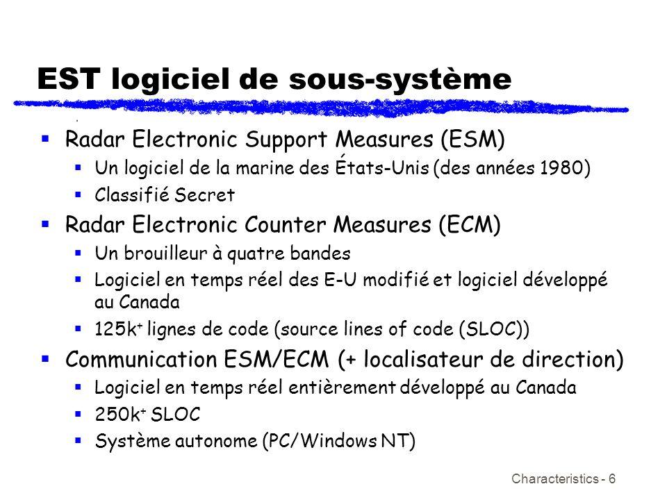Characteristics - 6 EST logiciel de sous-système Radar Electronic Support Measures (ESM) Un logiciel de la marine des États-Unis (des années 1980) Cla