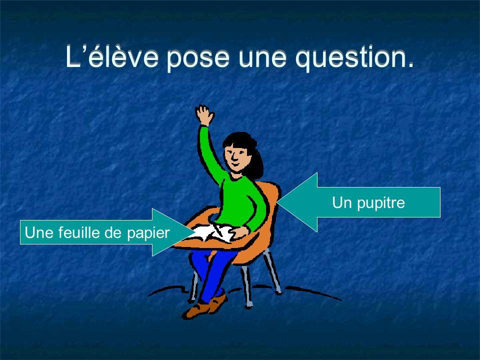 Lélève pose une question. Un pupitre Une feuille de papier