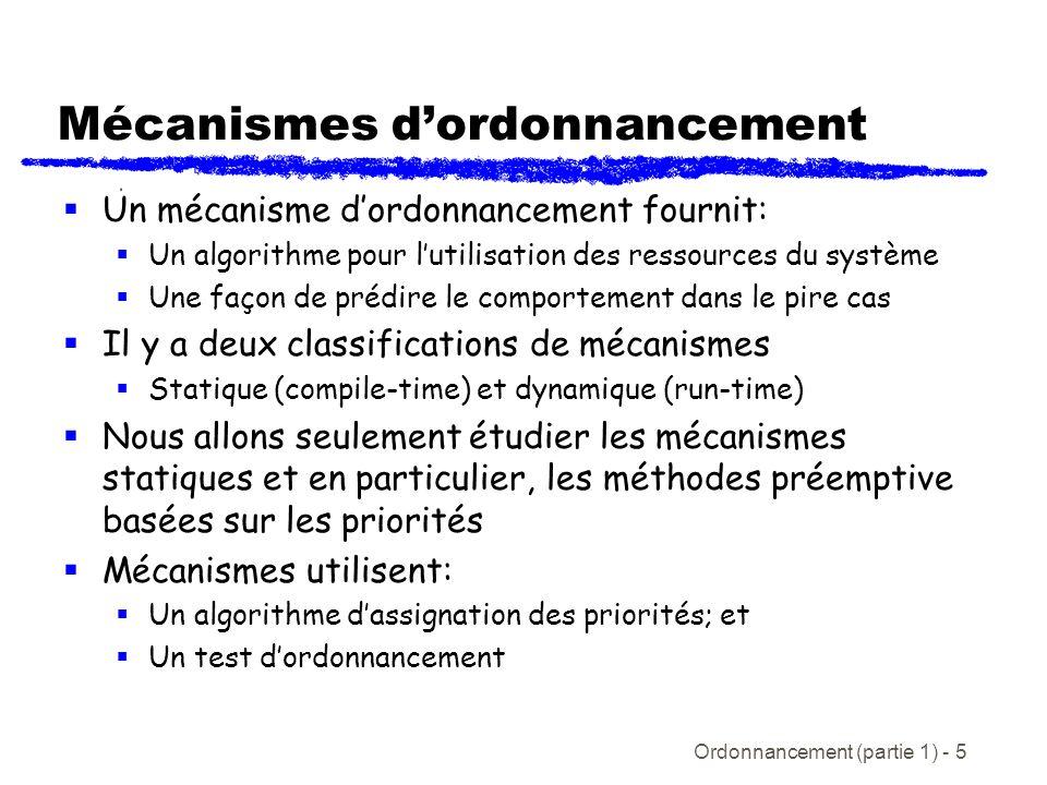Ordonnancement (partie 1) - 5 Mécanismes dordonnancement Un mécanisme dordonnancement fournit: Un algorithme pour lutilisation des ressources du systè