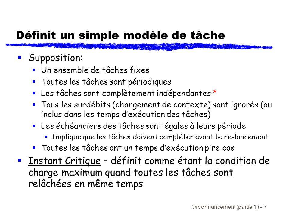 Ordonnancement (partie 1) - 7 Définit un simple modèle de tâche Supposition: Un ensemble de tâches fixes Toutes les tâches sont périodiques Les tâches