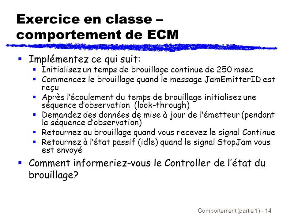 Comportement (partie 1) - 14 Exercice en classe – comportement de ECM Implémentez ce qui suit: Initialisez un temps de brouillage continue de 250 msec Commencez le brouillage quand le message JamEmitterID est reçu Après lécoulement du temps de brouillage initialisez une séquence dobservation (look-through) Demandez des données de mise à jour de lémetteur (pendant la séquence dobservation) Retournez au brouillage quand vous recevez le signal Continue Retournez à létat passif (idle) quand le signal StopJam vous est envoyé Comment informeriez-vous le Controller de létat du brouillage