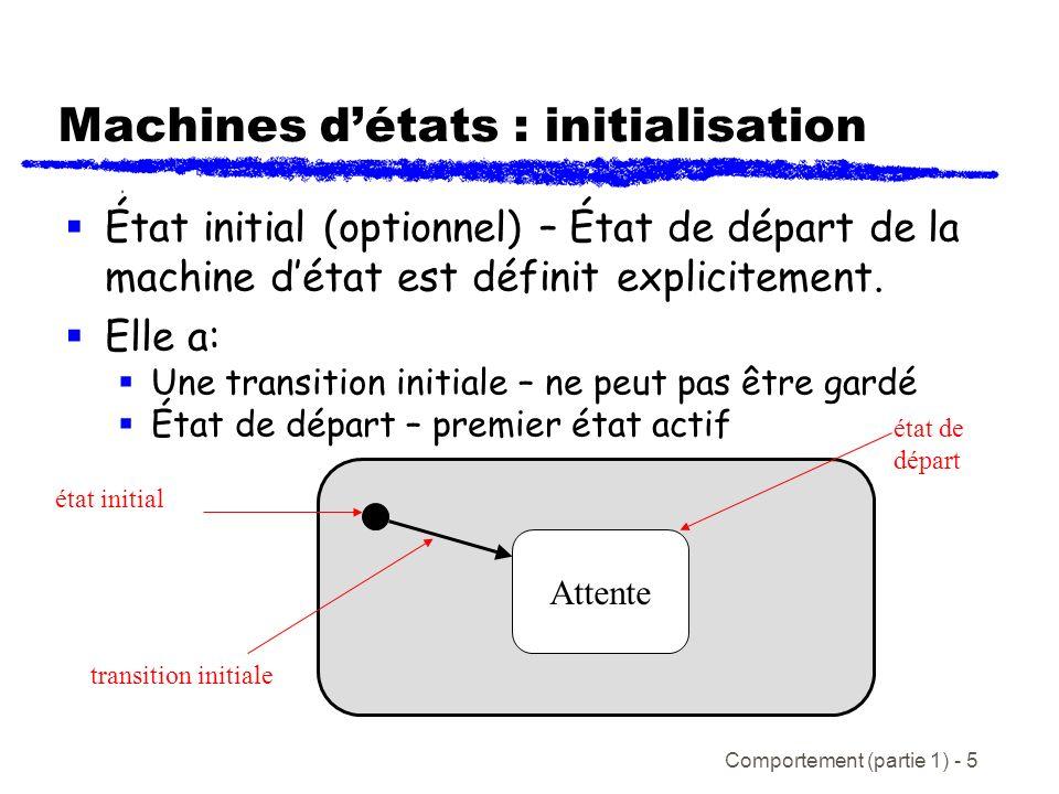Comportement (partie 1) - 5 Machines détats : initialisation État initial (optionnel) – État de départ de la machine détat est définit explicitement.