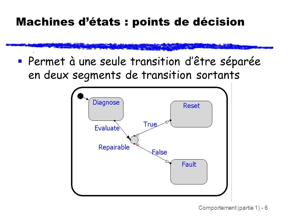 Comportement (partie 1) - 6 Machines détats : points de décision Permet à une seule transition dêtre séparée en deux segments de transition sortants