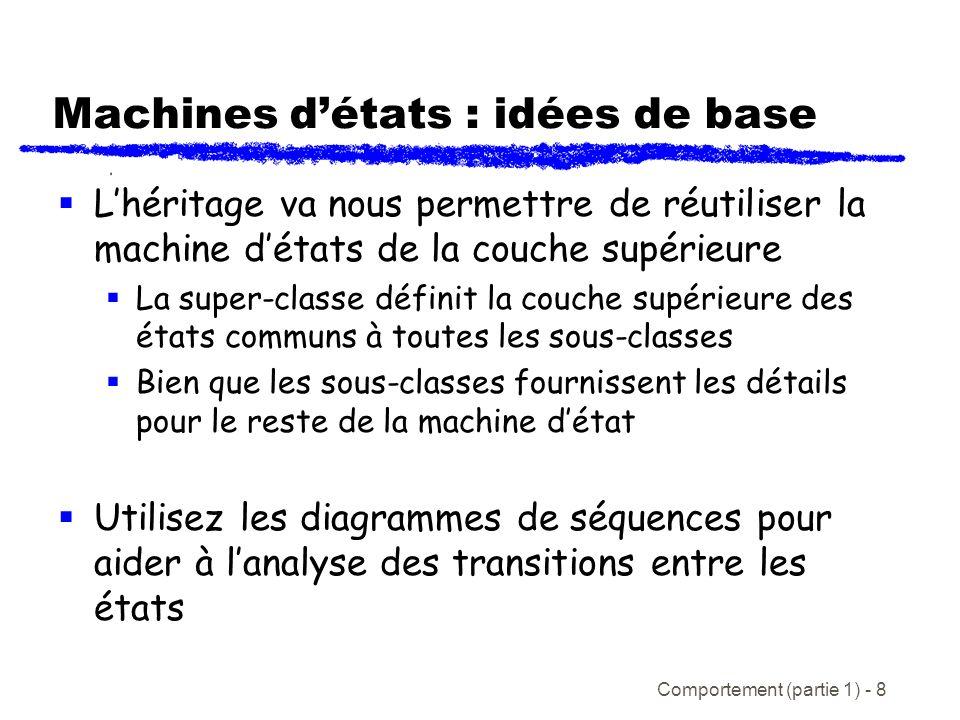 Comportement (partie 1) - 8 Machines détats : idées de base Lhéritage va nous permettre de réutiliser la machine détats de la couche supérieure La super-classe définit la couche supérieure des états communs à toutes les sous-classes Bien que les sous-classes fournissent les détails pour le reste de la machine détat Utilisez les diagrammes de séquences pour aider à lanalyse des transitions entre les états