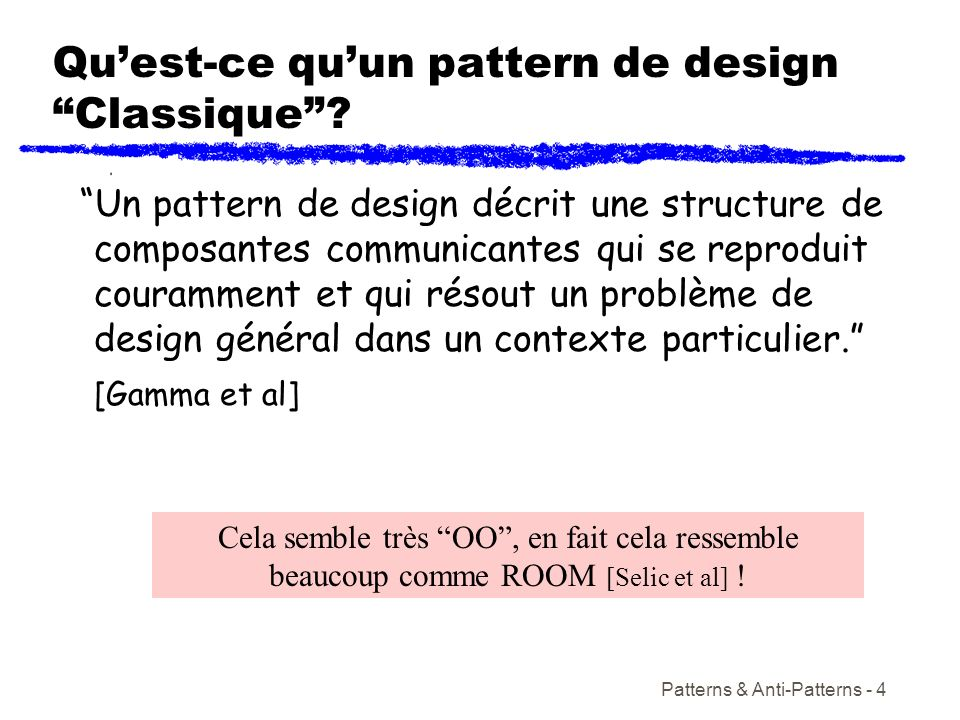 Patterns & Anti-Patterns - 4 Quest-ce quun pattern de design Classique? Un pattern de design décrit une structure de composantes communicantes qui se