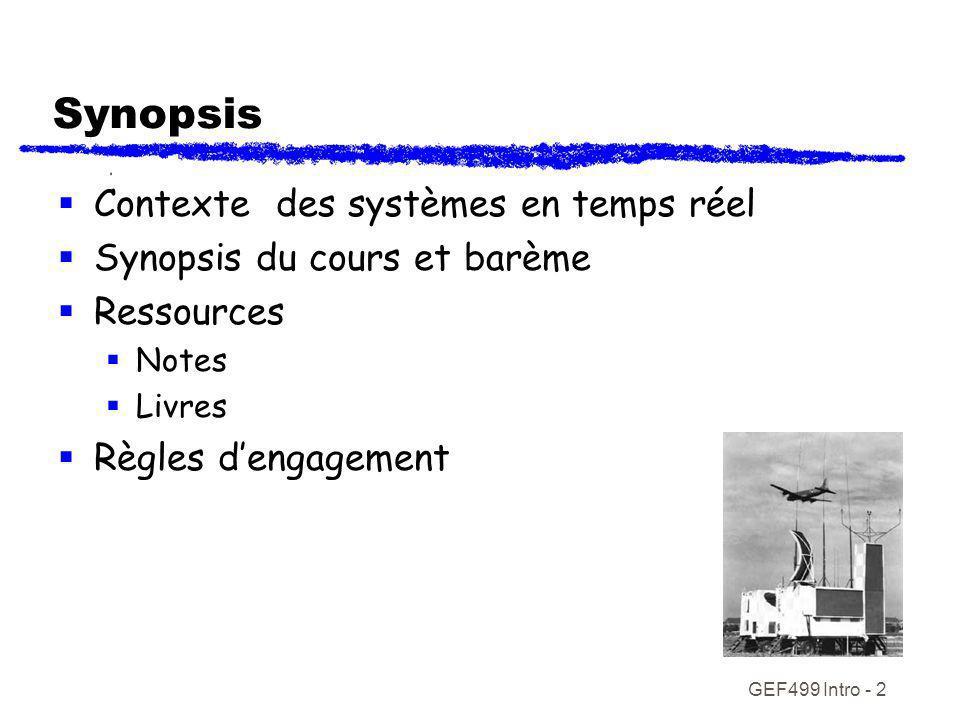 GEF499 Intro - 2 Synopsis Contexte des systèmes en temps réel Synopsis du cours et barème Ressources Notes Livres Règles dengagement