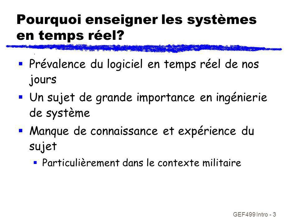 GEF499 Intro - 3 Pourquoi enseigner les systèmes en temps réel? Prévalence du logiciel en temps réel de nos jours Un sujet de grande importance en ing