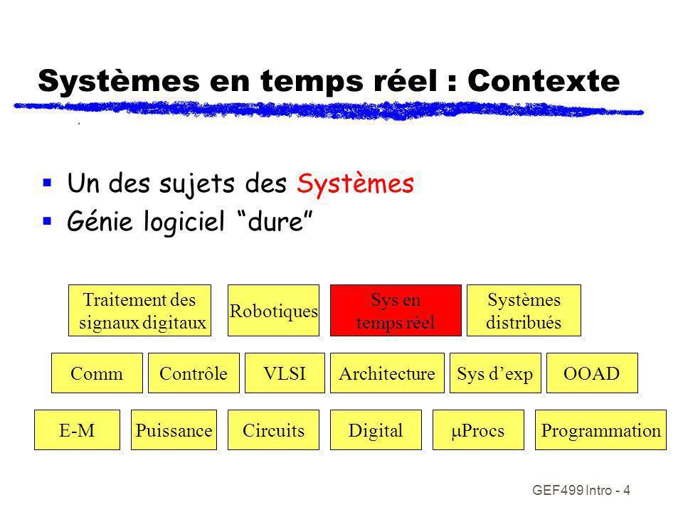 GEF499 Intro - 5 Synopsis du cours modélisation des systèmes en temps réel Des requis aux designs détaillés exécutables Point focal sur le design Pré requis : OOA&D UML Un langage de programmation OO (Java, C++)