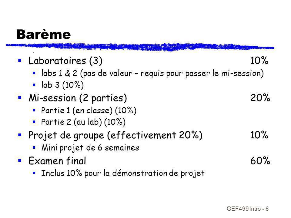 GEF499 Intro - 6 Barème Laboratoires (3)10% labs 1 & 2 (pas de valeur – requis pour passer le mi-session) lab 3 (10%) Mi-session (2 parties)20% Partie