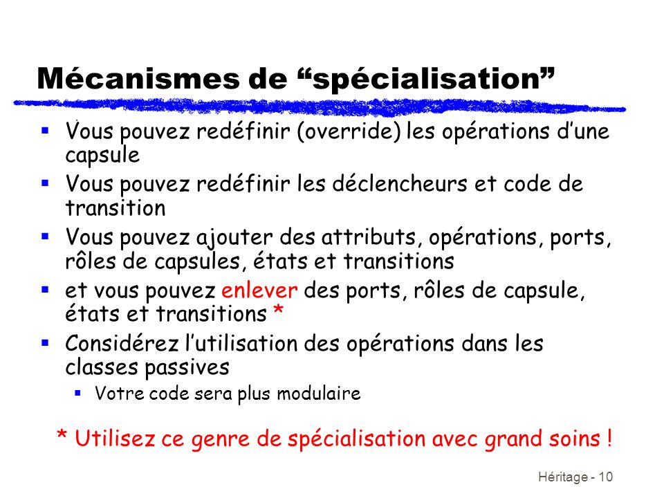 Héritage - 10 Mécanismes de spécialisation Vous pouvez redéfinir (override) les opérations dune capsule Vous pouvez redéfinir les déclencheurs et code
