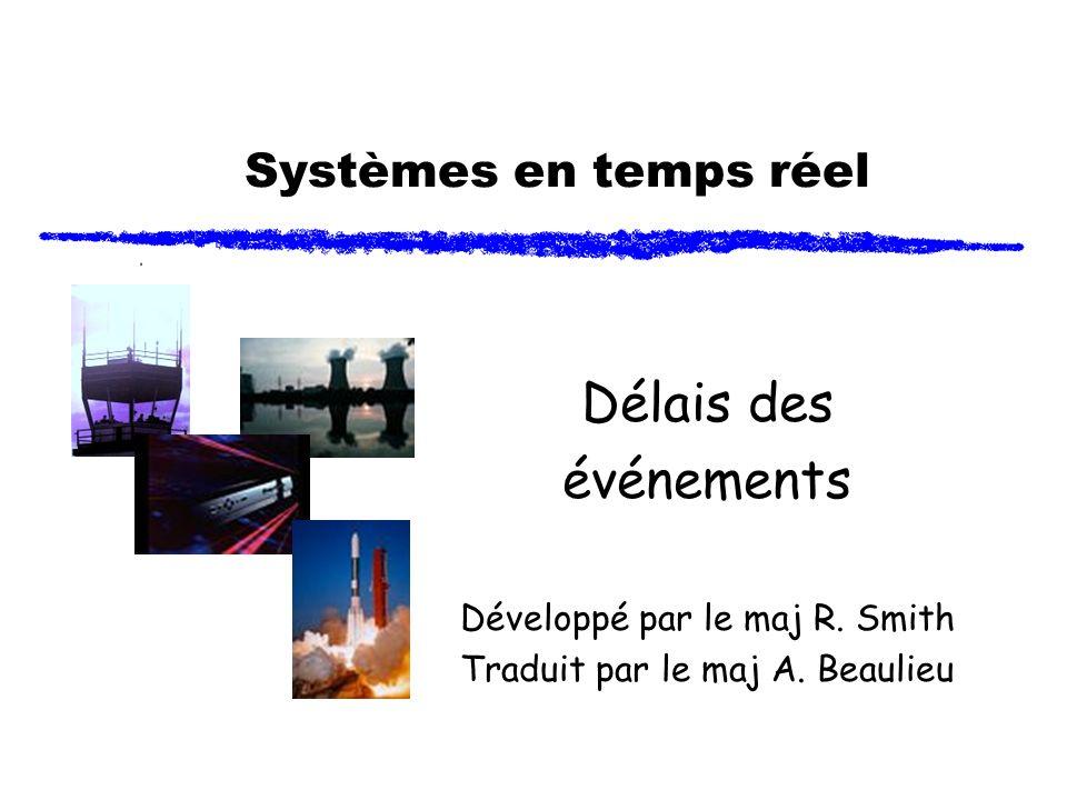 Systèmes en temps réel Délais des événements Développé par le maj R. Smith Traduit par le maj A. Beaulieu