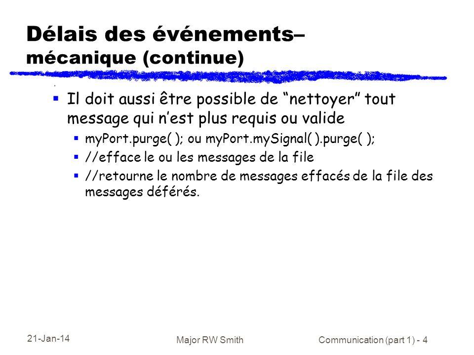 21-Jan-14 Major RW Smith Communication (part 1) - 4 Délais des événements– mécanique (continue) Il doit aussi être possible de nettoyer tout message q