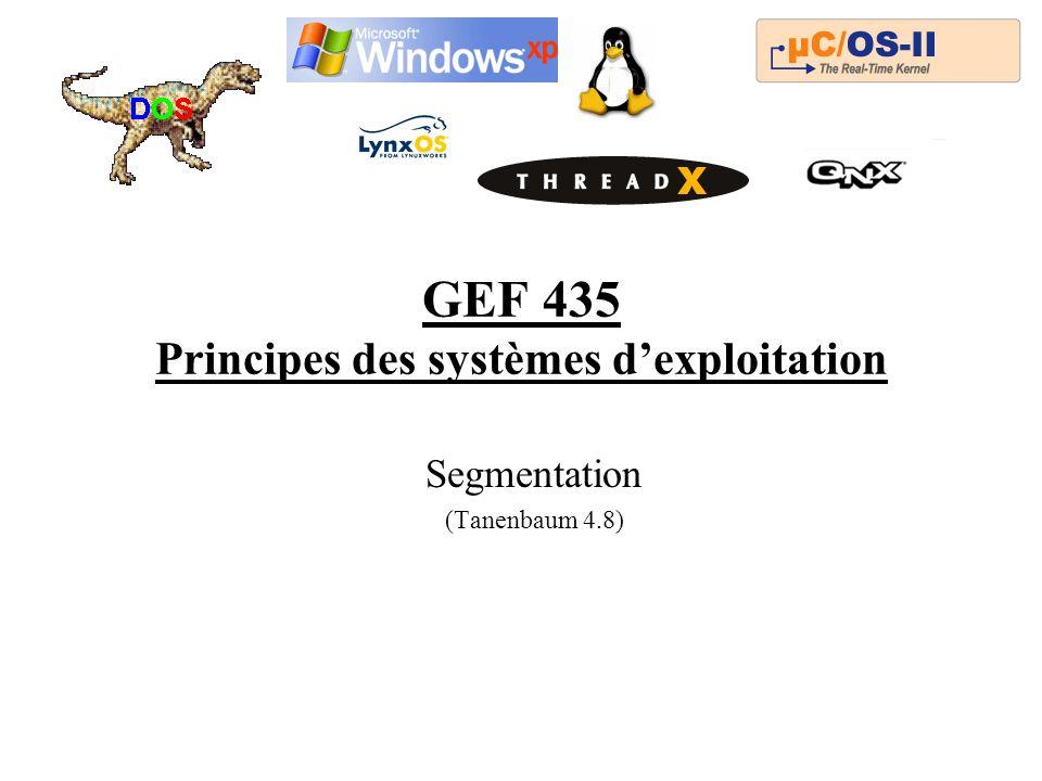 GEF 435 Principes des systèmes dexploitation Segmentation (Tanenbaum 4.8)