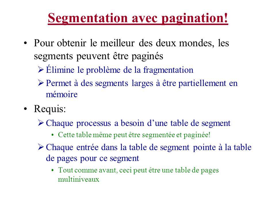 Segmentation avec pagination! Pour obtenir le meilleur des deux mondes, les segments peuvent être paginés Élimine le problème de la fragmentation Perm