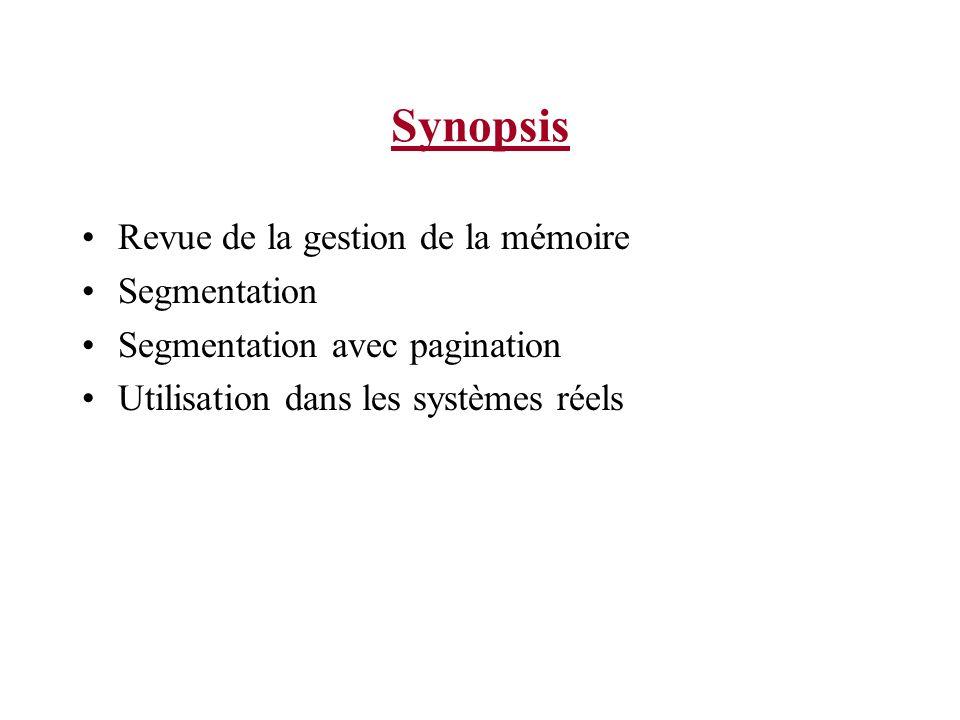 Synopsis Revue de la gestion de la mémoire Segmentation Segmentation avec pagination Utilisation dans les systèmes réels