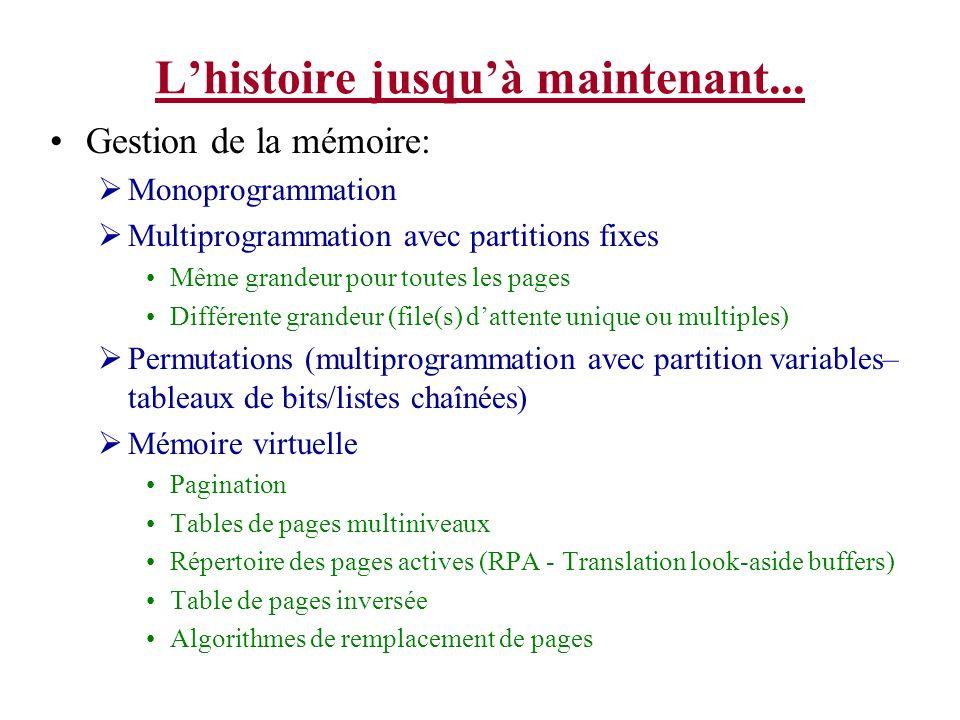 Lhistoire jusquà maintenant... Gestion de la mémoire: Monoprogrammation Multiprogrammation avec partitions fixes Même grandeur pour toutes les pages D