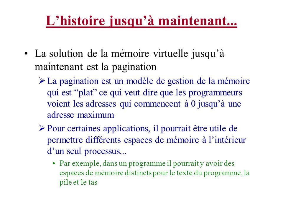 Lhistoire jusquà maintenant... La solution de la mémoire virtuelle jusquà maintenant est la pagination La pagination est un modèle de gestion de la mé