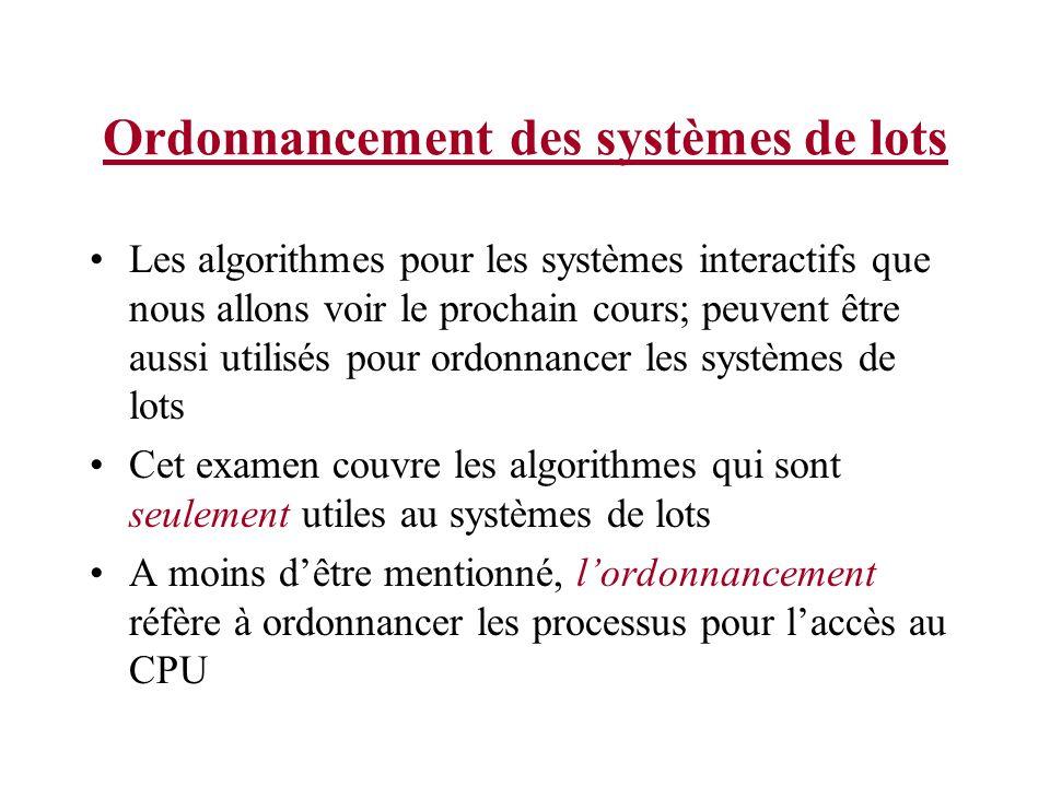 Ordonnancement des systèmes de lots Les algorithmes pour les systèmes interactifs que nous allons voir le prochain cours; peuvent être aussi utilisés pour ordonnancer les systèmes de lots Cet examen couvre les algorithmes qui sont seulement utiles au systèmes de lots A moins dêtre mentionné, lordonnancement réfère à ordonnancer les processus pour laccès au CPU