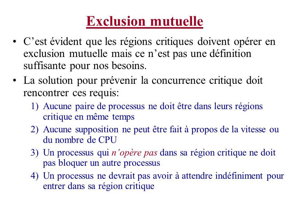 Exclusion mutuelle Cest évident que les régions critiques doivent opérer en exclusion mutuelle mais ce nest pas une définition suffisante pour nos bes