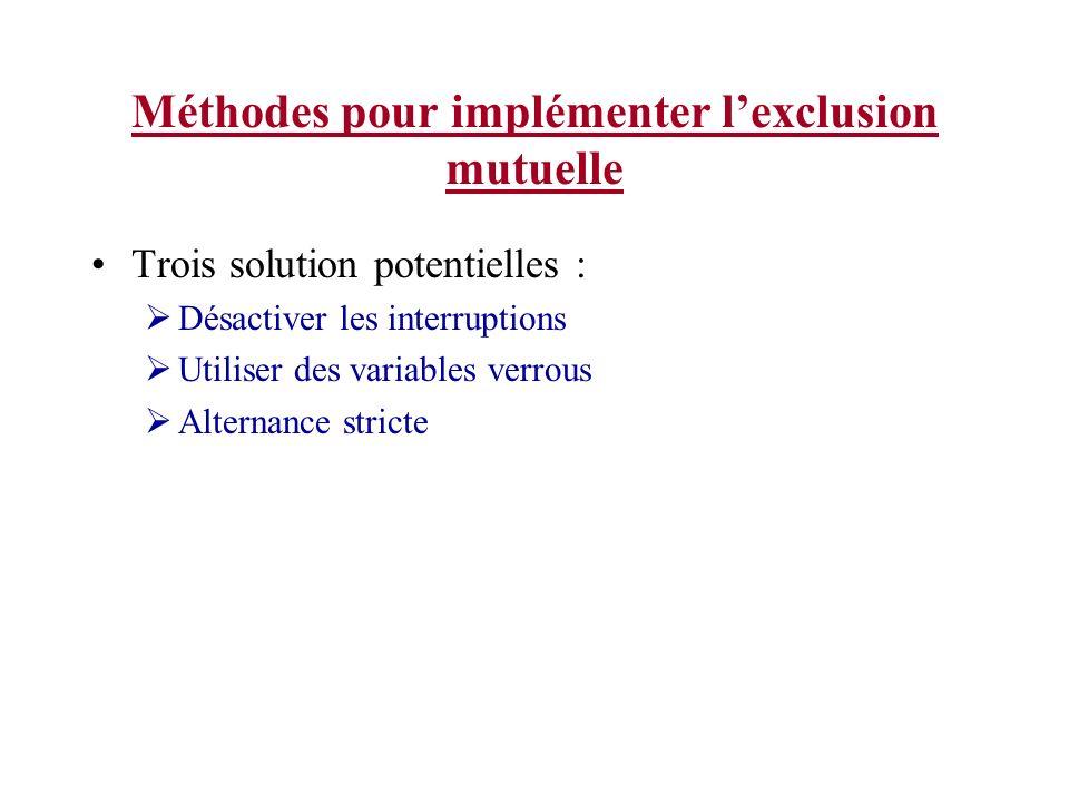 Méthodes pour implémenter lexclusion mutuelle Trois solution potentielles : Désactiver les interruptions Utiliser des variables verrous Alternance str