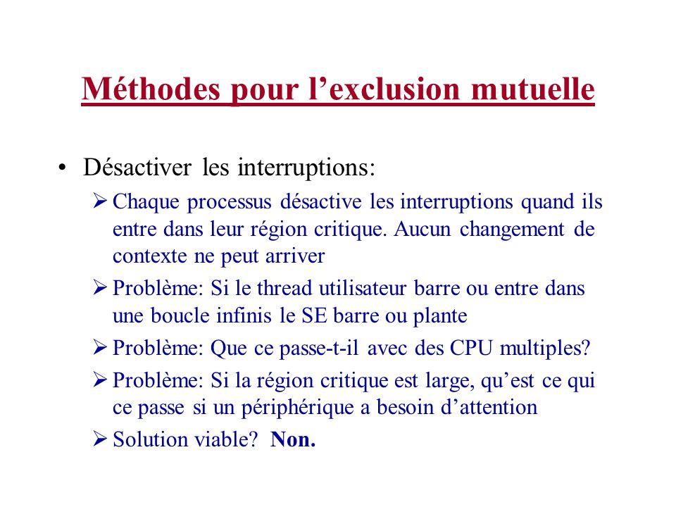 Méthodes pour lexclusion mutuelle Désactiver les interruptions: Chaque processus désactive les interruptions quand ils entre dans leur région critique