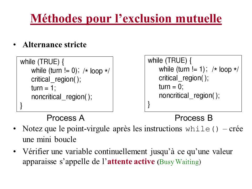 Méthodes pour lexclusion mutuelle Alternance stricte Notez que le point-virgule après les instructions while() – crée une mini boucle Vérifier une var