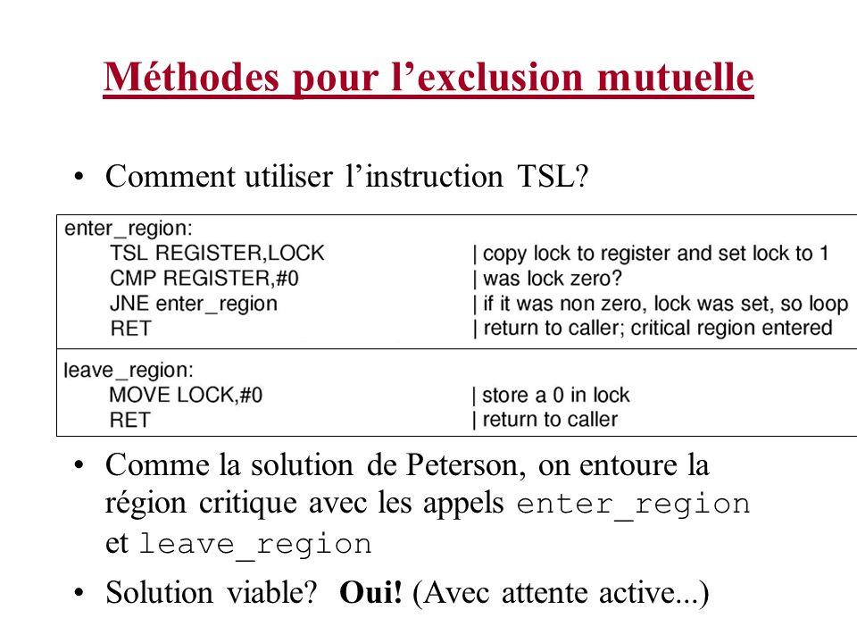 Méthodes pour lexclusion mutuelle Comment utiliser linstruction TSL? Comme la solution de Peterson, on entoure la région critique avec les appels ente