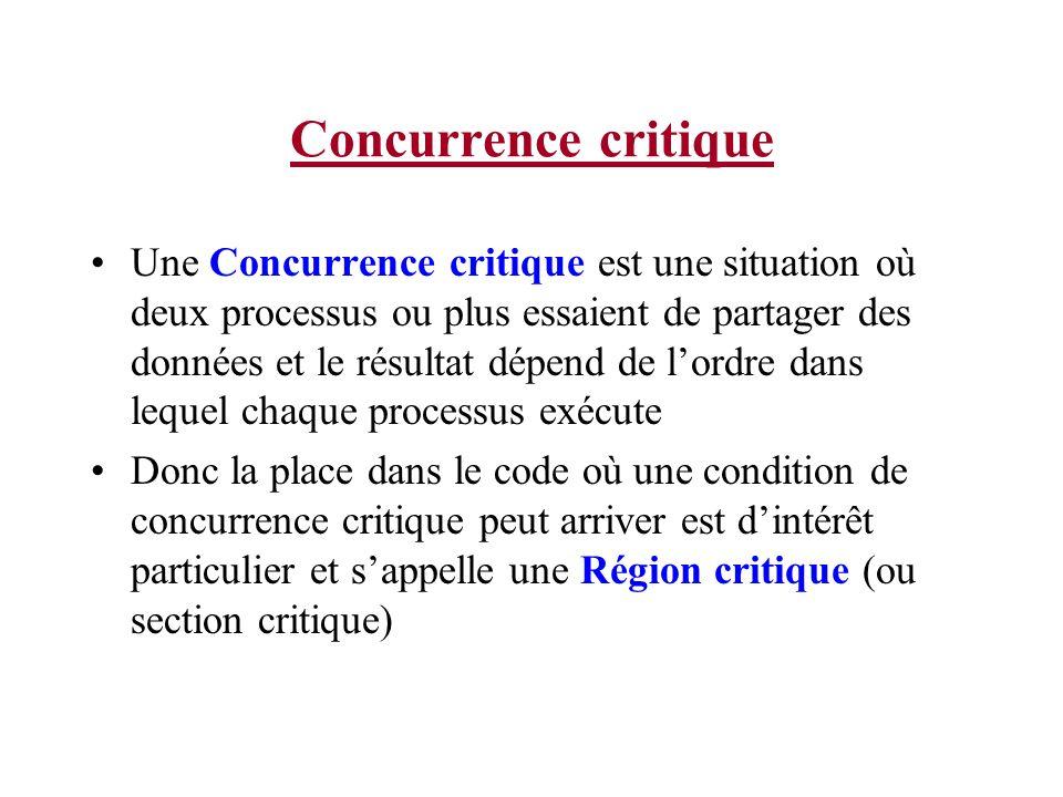 Concurrence critique Une Concurrence critique est une situation où deux processus ou plus essaient de partager des données et le résultat dépend de lo