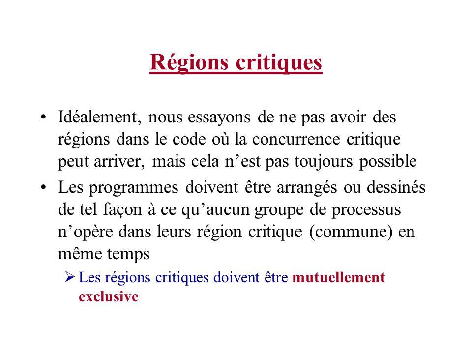 Régions critiques Idéalement, nous essayons de ne pas avoir des régions dans le code où la concurrence critique peut arriver, mais cela nest pas toujo