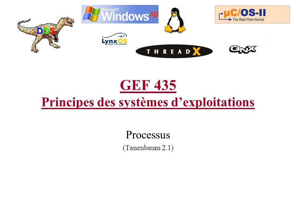 GEF 435 Principes des systèmes dexploitations Processus (Tanenbaum 2.1)