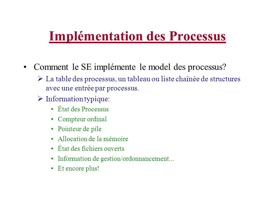 Implémentation des Processus Comment le SE implémente le model des processus? La table des processus, un tableau ou liste chaînée de structures avec u