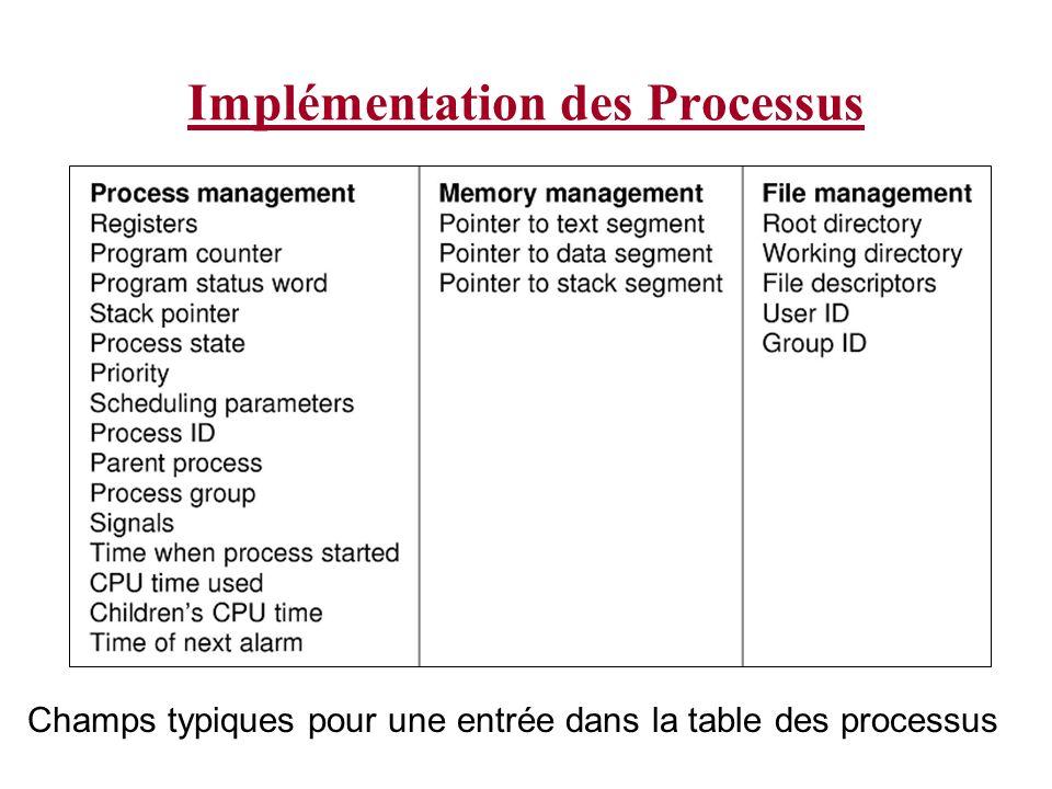 Implémentation des Processus Champs typiques pour une entrée dans la table des processus