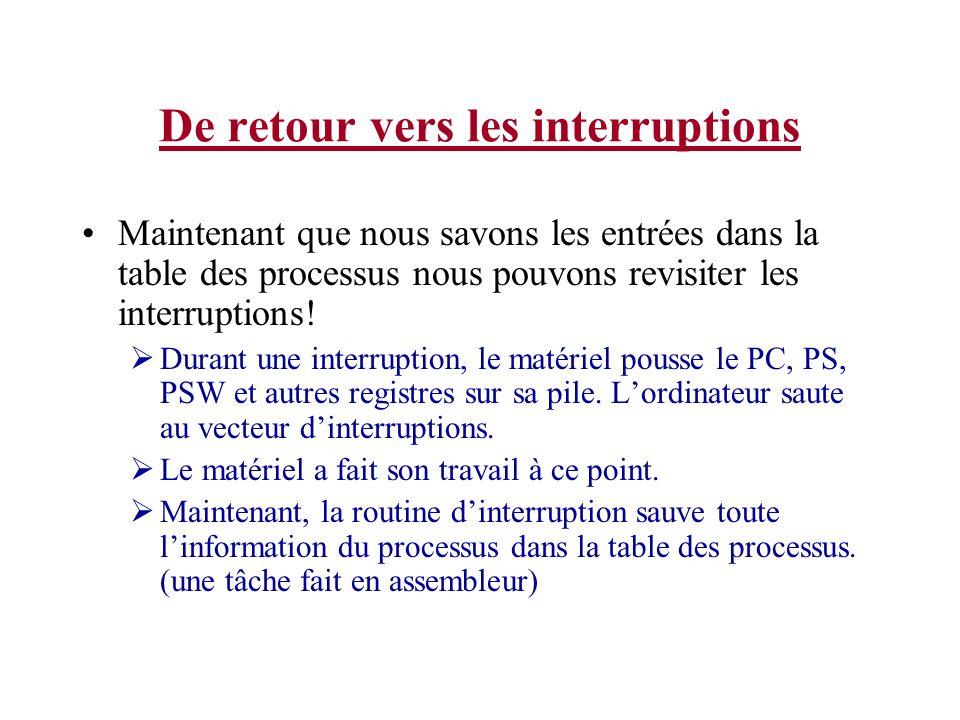 De retour vers les interruptions Maintenant que nous savons les entrées dans la table des processus nous pouvons revisiter les interruptions! Durant u
