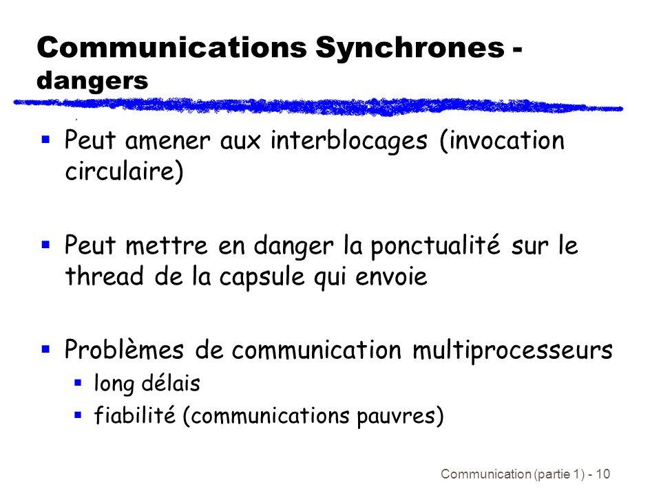 Communication (partie 1) - 10 Communications Synchrones - dangers Peut amener aux interblocages (invocation circulaire) Peut mettre en danger la ponctualité sur le thread de la capsule qui envoie Problèmes de communication multiprocesseurs long délais fiabilité (communications pauvres)