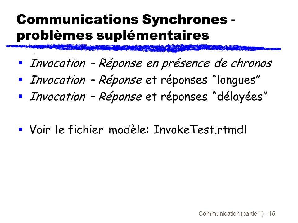 Communication (partie 1) - 15 Communications Synchrones - problèmes suplémentaires Invocation – Réponse en présence de chronos Invocation – Réponse et réponses longues Invocation – Réponse et réponses délayées Voir le fichier modèle: InvokeTest.rtmdl