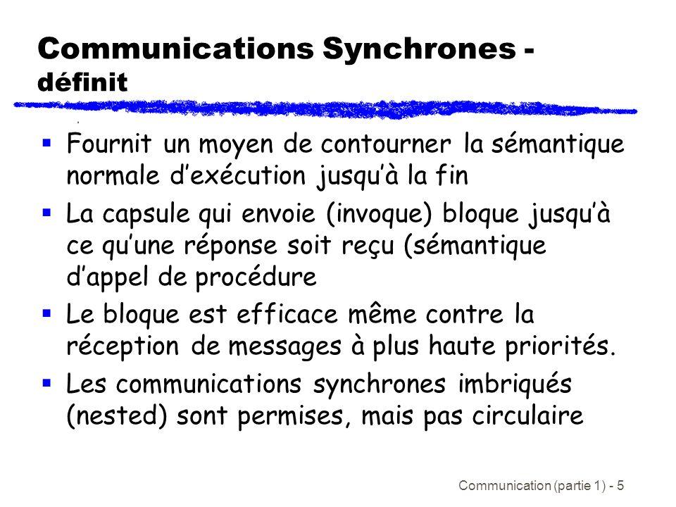 Communication (partie 1) - 5 Communications Synchrones - définit Fournit un moyen de contourner la sémantique normale dexécution jusquà la fin La capsule qui envoie (invoque) bloque jusquà ce quune réponse soit reçu (sémantique dappel de procédure Le bloque est efficace même contre la réception de messages à plus haute priorités.