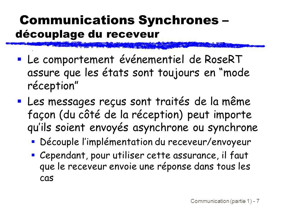 Communication (partie 1) - 7 Communications Synchrones – découplage du receveur Le comportement événementiel de RoseRT assure que les états sont toujours en mode réception Les messages reçus sont traités de la même façon (du côté de la réception) peut importe quils soient envoyés asynchrone ou synchrone Découple limplémentation du receveur/envoyeur Cependant, pour utiliser cette assurance, il faut que le receveur envoie une réponse dans tous les cas