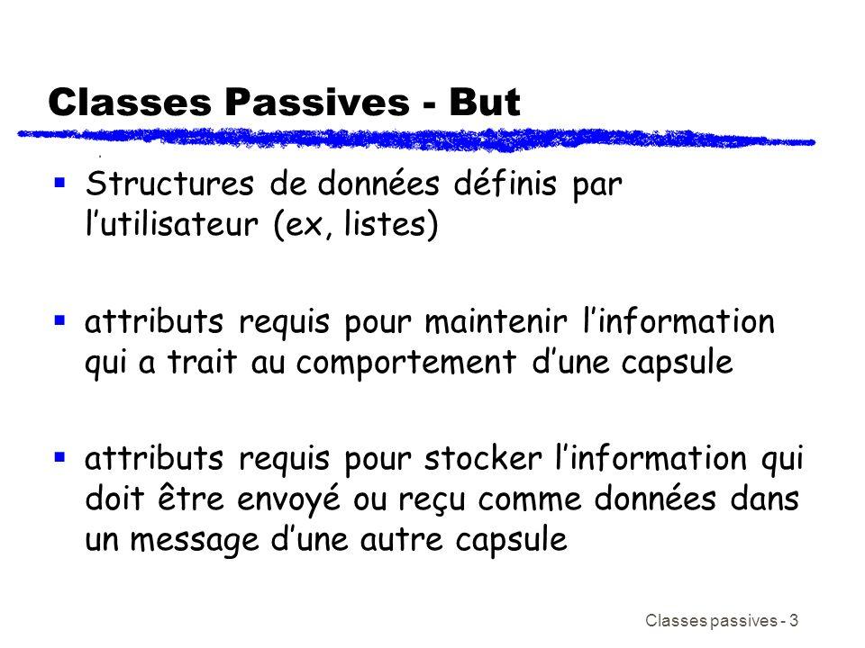 Classes passives - 3 Classes Passives - But Structures de données définis par lutilisateur (ex, listes) attributs requis pour maintenir linformation qui a trait au comportement dune capsule attributs requis pour stocker linformation qui doit être envoyé ou reçu comme données dans un message dune autre capsule