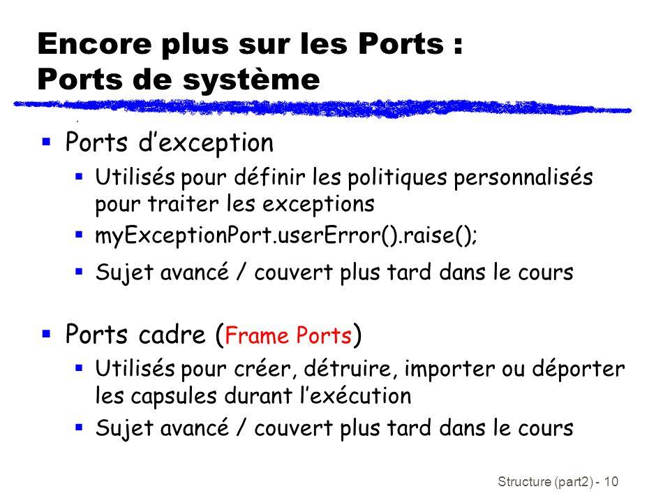 Structure (part2) - 10 Encore plus sur les Ports : Ports de système Ports dexception Utilisés pour définir les politiques personnalisés pour traiter les exceptions myExceptionPort.userError().raise(); Sujet avancé / couvert plus tard dans le cours Ports cadre ( Frame Ports ) Utilisés pour créer, détruire, importer ou déporter les capsules durant lexécution Sujet avancé / couvert plus tard dans le cours
