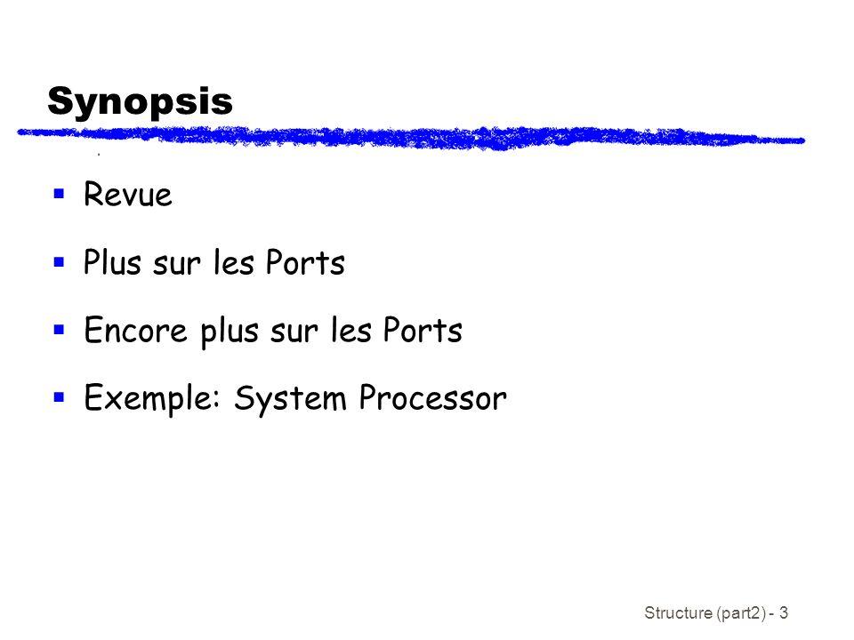 Structure (part2) - 3 Synopsis Revue Plus sur les Ports Encore plus sur les Ports Exemple: System Processor