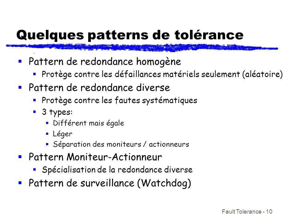 Fault Tolerance - 10 Quelques patterns de tolérance Pattern de redondance homogène Protège contre les défaillances matériels seulement (aléatoire) Pat