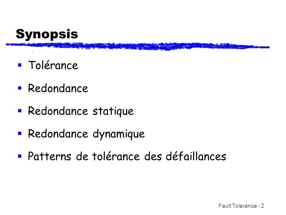 Fault Tolerance - 2 Synopsis Tolérance Redondance Redondance statique Redondance dynamique Patterns de tolérance des défaillances