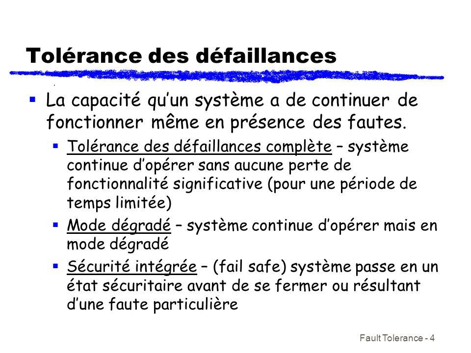 Fault Tolerance - 4 Tolérance des défaillances La capacité quun système a de continuer de fonctionner même en présence des fautes. Tolérance des défai