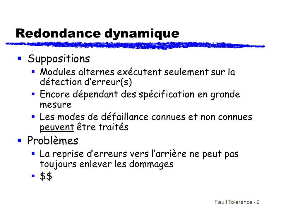 Fault Tolerance - 9 Redondance dynamique Suppositions Modules alternes exécutent seulement sur la détection derreur(s) Encore dépendant des spécificat